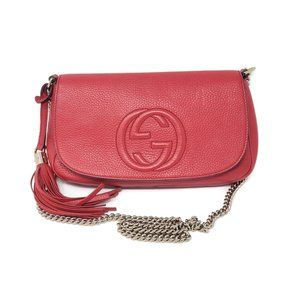 Auth Gucci Soho on Chain Leather Red Crossbody Bag